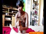 Ebony amateur jerking a cock