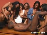 Black girls fucking a guy with a strapon