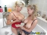 Lesbian moms with great tits in the bathroom