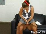 Schoolgirl riding a huge cock