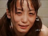 Japanese teen playing with cum