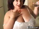 Busty fat wife cleans the house