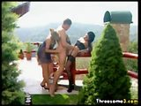 Blonde and brunette share a hot guy