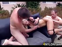 Lady Cop Having Threesome Outdoor
