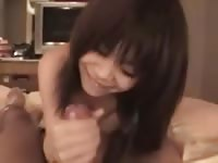 Cute young Asian babe blowjob POV style
