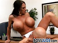 Buffed busty boss wants her pussy licked and fingered