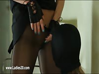 Ladies in stockings makes out with adult toys