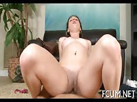Slutty gal swallow a cock before riding it