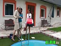 Lesbians having fun on the poolside