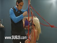 Horny blonde submitted to her master