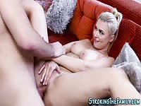 Flawless gal shaved twat nailed