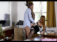 Horny babe fucked her co-worker at the office