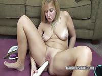 Horny chubby girl masturbates with vegetables