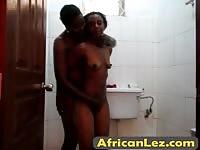 Ebony lesbians fucking in the bathroom
