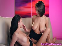 Brunette with amazing boobs eats pussy