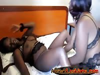Black african girls in lingerie fuck with dildo
