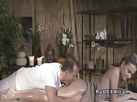 Dirty mature masseur tease and fuck hot babe from behind