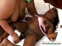 BBW ebony playing with midgets pussy