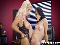 Lesbos banging in the office