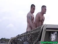 Military men fucking and cumming outdoors