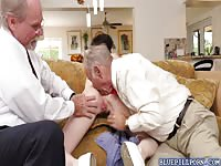 Petite Alex Harper have her holes finger by two horny grandpa