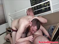 Hairy dudes sucking and fucking raw in hd