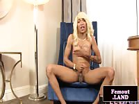Blonde shemale masturbating on the chair in hd