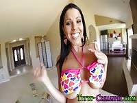Big juggs chick in colorful bikini gets jizzed