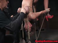 Busty blonde submitted for a nasty bondage