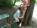 Teen having sex with an old guy in public