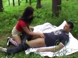 Naughty sex game in the forest