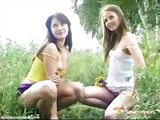 Teenage girls showing off in nature