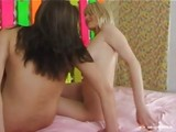 Two cute teens playing together