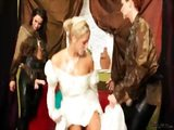 White wedding dress covered with jizz