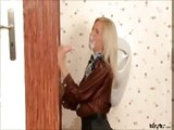 Blonde gets cumblasted on the toilet
